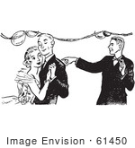 #61450 Retro Clipart Of A Vintage Boy Pointing At A Teenage Couple Dancing At High School Prom In Black And White - Royalty Free Vector Illustration