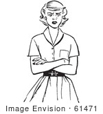 #61471 Retro Clipart Of A Vintage Teen Girl With Folded Arms And An Angry Expression In Black And White - Royalty Free Vector Illustration by JVPD