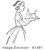 #61481 Retro Clipart Of A Vintage Nurse Carrying A Tray With Medicine In Black And White - Royalty Free Vector Illustration by JVPD