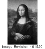 #61520 Black And White Mona Lisa Portait by Leonardo Da Vinci - Royalty Free Illustration by JVPD