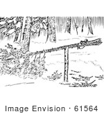 #61564 Clipart Of A Marten Trap Set In Black And White - Royalty Free Vector Illustration