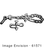 #61571 Clipart Of A Bear Chain Clevis And Bolt For A Trap In Black And White - Royalty Free Vector Illustration