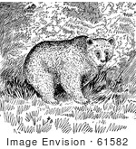 #61582 Clipart Of A Grizzly Bear In The Woods In Black And White - Royalty Free Vector Illustration
