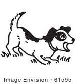 #61595 Clipart Of A Barking Puppy In Black And White - Royalty Free Vector Illustration