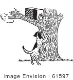 #61597 Clipart Of A Dark Barking At An Animal Trap In A Tree In Black And White - Royalty Free Vector Illustration