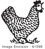 #61598 Clipart Of A Crowing Rooster In Black And White - Royalty Free Vector Illustration