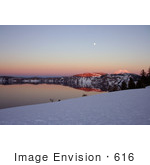 #616 Photo Of A February Sunset At Crater Lake Oregon Full Moon