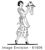 #61606 Clipart Of A Retro Woman Carrying Plum Pudding On A Plate In Black And White - Royalty Free Vector Illustration by JVPD