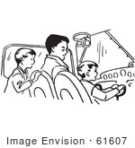 #61607 Clipart Of A Retro Father Pilot And Sons In Black And White - Royalty Free Vector Illustration
