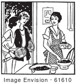 #61610 Clipart Of A Retro Woman Sorting Berries And Friends Asking Her To Play Tennis In Black And White - Royalty Free Vector Illustration