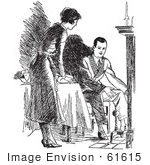 #61615 Clipart Of A Retro Housewife Setting A Fireside Table For Her Husband In Black And White - Royalty Free Vector Illustration