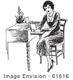 #61616 Clipart Of A Retro Woman Reading At A Desk In Black And White - Royalty Free Vector Illustration
