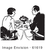 #61619 Clipart Of A Retro Couple Eating A Meal In Black And White - Royalty Free Vector Illustration