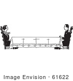 #61622 Clipart Of A Retro Housewife Across A Long Table From Her Husband In Black And White - Royalty Free Vector Illustration