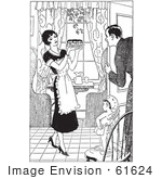 #61624 Clipart Of A Retro Cherub Chef Watching A Housewife Serve Her Husband Pie In Black And White - Royalty Free Vector Illustration