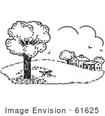 #61625 Clipart Of A Dog Exploring Property In Black And White - Royalty Free Vector Illustration