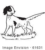 #61631 Clipart Of An Alert Dog In Black And White - Royalty Free Vector Illustration