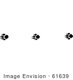 #61639 Clipart Of Gray Fox Tracks In Black And White - Royalty Free Vector Illustration
