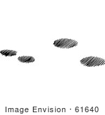 #61640 Clipart Of Cottontail Rabbit Tracks In Snow In Black And White - Royalty Free Vector Illustration