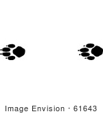 #61643 Clipart Of Timber Wolf Tracks In Black And White - Royalty Free Vector Illustration