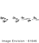 #61646 Clipart Of Muskrat Tracks In Black And White - Royalty Free Vector Illustration
