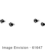 #61647 Clipart Of Fisher Tracks In Black And White - Royalty Free Vector Illustration