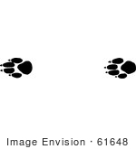 #61648 Clipart Of Prairie Wolf Tracks In Black And White - Royalty Free Vector Illustration