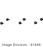 #61649 Clipart Of Marten Tracks In Black And White - Royalty Free Vector Illustration