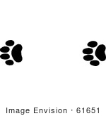 #61651 Clipart Of Bobcat Tracks In Black And White - Royalty Free Vector Illustration
