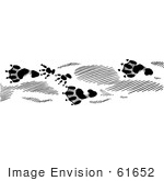 #61652 Clipart Of Beaver Tracks In Black And White - Royalty Free Vector Illustration