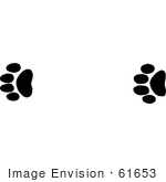 #61653 Clipart Of Mountain Lion Tracks In Black And White - Royalty Free Vector Illustration