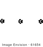 #61654 Clipart Of Wildcat Tracks In Black And White - Royalty Free Vector Illustration