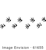#61655 Clipart Of Opossum Tracks In Black And White - Royalty Free Vector Illustration