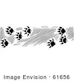 #61656 Clipart Of Otter Tracks In Black And White - Royalty Free Vector Illustration