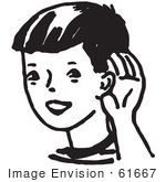 #61667 Clipart Of A Boy Cupping His Ear In Black And White - Royalty Free Vector Illustration by JVPD