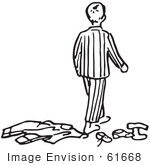 #61668 Clipart Of A Boy In Pjs Walking Over Clothes In Black And White - Royalty Free Vector Illustration