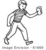 #61669 Clipart Of A Boy Holding Out Money Or Tickets In Black And White - Royalty Free Vector Illustration by JVPD
