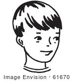 #61670 Clipart Of A Happy Boy In Black And White - Royalty Free Vector Illustration