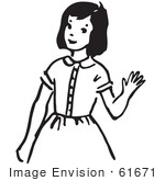 #61671 Clipart Of A Girl Waving In Black And White - Royalty Free Vector Illustration
