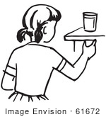 #61672 Clipart Of A Girl Reaching For A Cup In Black And White - Royalty Free Vector Illustration