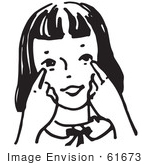 #61673 Clipart Of A Girl Pointing To Her Eyes In Black And White - Royalty Free Vector Illustration