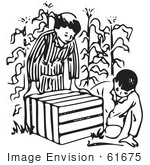 #61675 Clipart Of Boys Looking In An Animal Trap In A Corn Field In Black And White - Royalty Free Vector Illustration