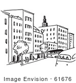 #61676 Clipart Of A City Street In Black And White - Royalty Free Vector Illustration by JVPD