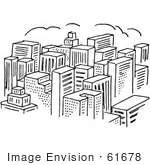 #61678 Clipart Of A City Of Skyscrapers In Black And White - Royalty Free Vector Illustration by JVPD