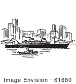#61680 Clipart Of A Ship Near A City In Black And White - Royalty Free Vector Illustration