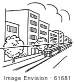 61681 Clipart Of A Tram In City Black And White