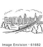 #61682 Clipart Of A Train Near A City In Black And White - Royalty Free Vector Illustration