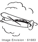 #61683 Clipart Of A Flying Airplane In Black And White 3 - Royalty Free Vector Illustration