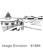 #61684 Clipart Of An Airport In Black And White - Royalty Free Vector Illustration