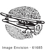 #61685 Clipart Of A Flying Airplane In Black And White 4 - Royalty Free Vector Illustration
